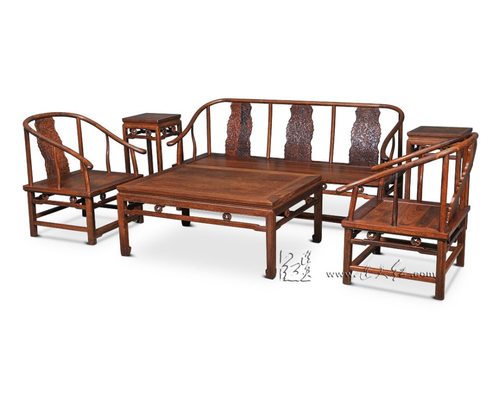 1+3 Seat 6 Pieces Triple Chair Set China Royal Rosewood Furniture Living Room Solid Wood Sofa Bed Suit Red Sandalwood Tea Tables living room chair pu seat black red