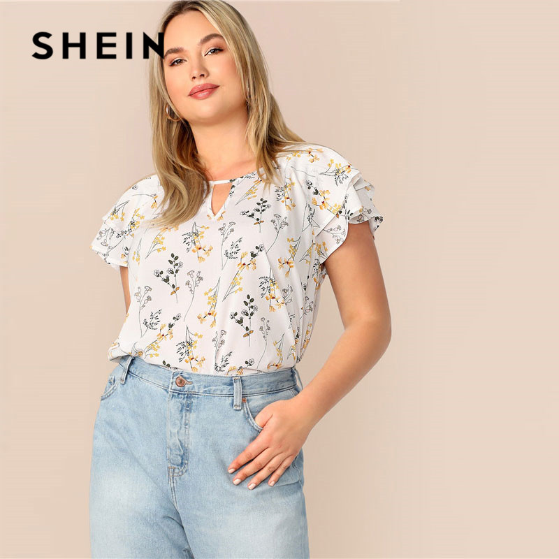 e82028a0806e SHEIN Plus Size Choker Neck Layered Ruffle Sleeve Floral Blouse Women Casual  Cut Out Neck Butterfly Sleeve Summer White Blouse · save