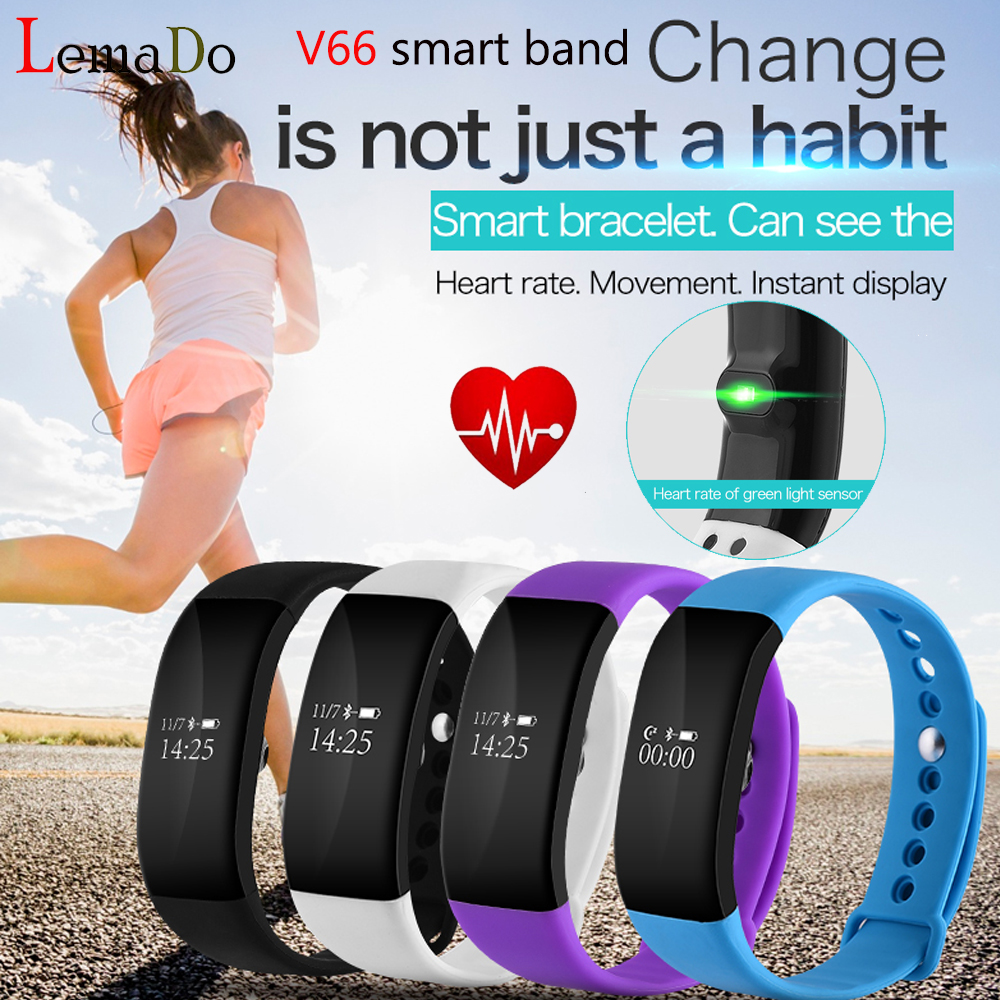 Lemado Smart band V66 Heart rate Monitor OLED Display wristband bracelet Sport Activity Fitness Tracker for