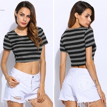 Women Sexy strip Style crop tops Casual Pullover short Crop Slim Tshirts Jumpers O neck short sleeve Tops
