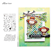 JC Metal Cutting Dies and Rubber Stamps for Scrapbooking Craft Monkey Banana Stencil Die Cut Card Making Album Decor