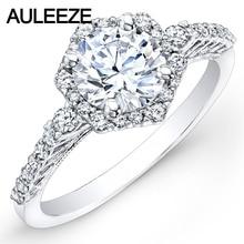 Classic Prong Setting 14K 585 White Gold Hexagon Halo Moissanites Lab Grown Diamond  Engagement Wedding Ring Band Women Jewelry