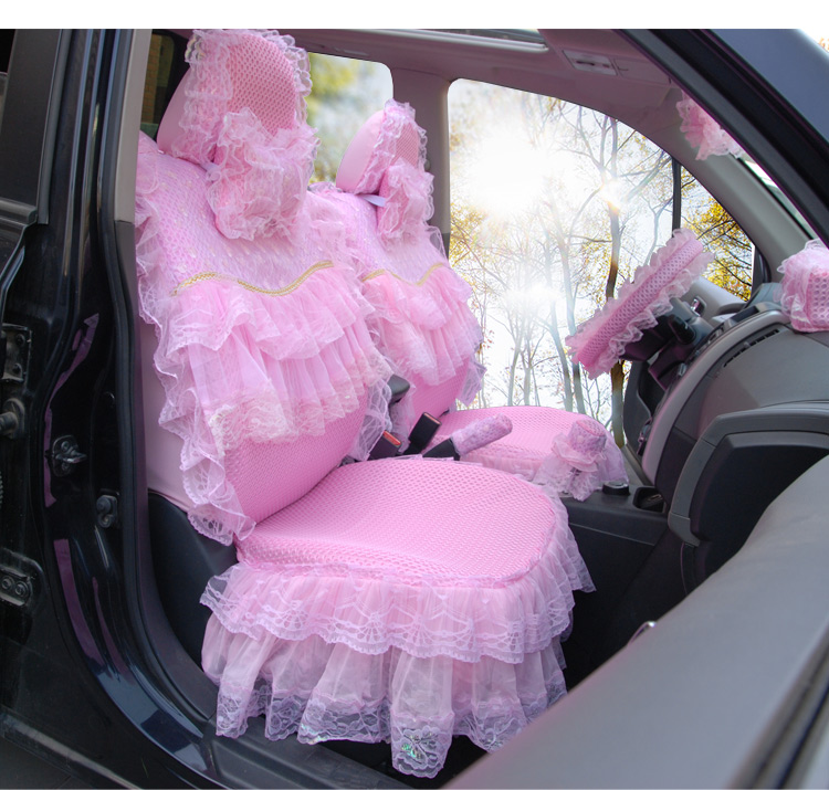 Women car seat covers set cushion pad pink flower lace skirt 3d mesh women car seat covers set cushion pad pink flower lace skirt 3d mesh cover 19 pieces front rear all accessories universal fit in automobiles seat covers mightylinksfo