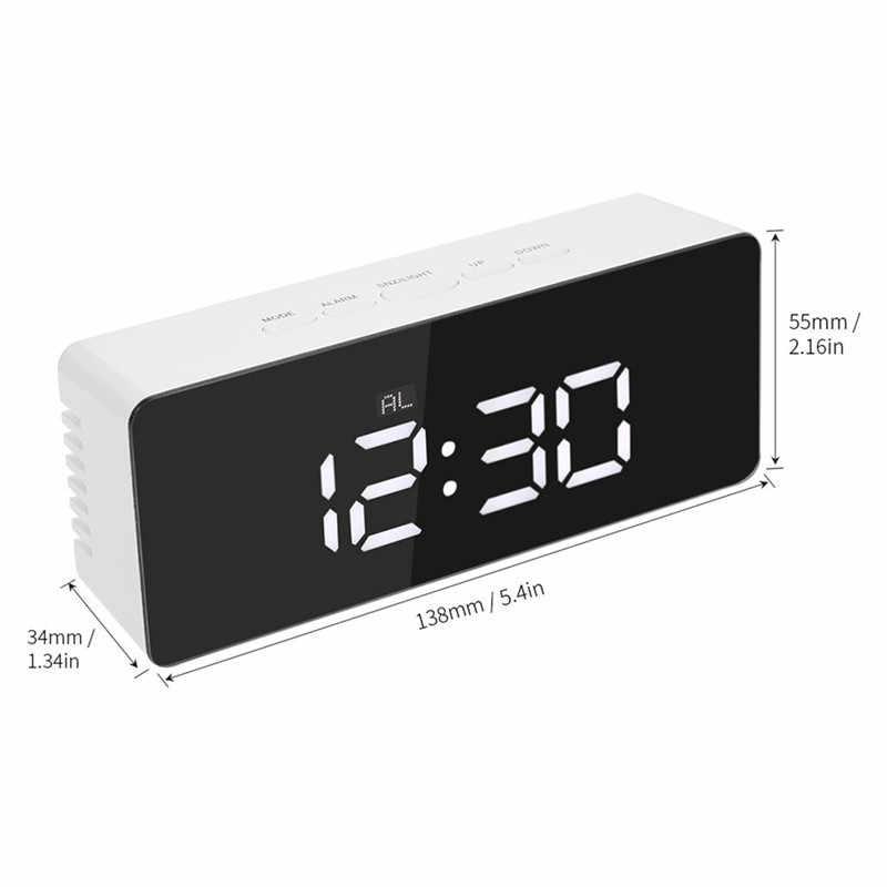 Светодиодный зеркальный будильник, цифровые настольные часы, будильник, светильник, электронный, с большой температурой, домашний будильник, Ночной светильник, термометр