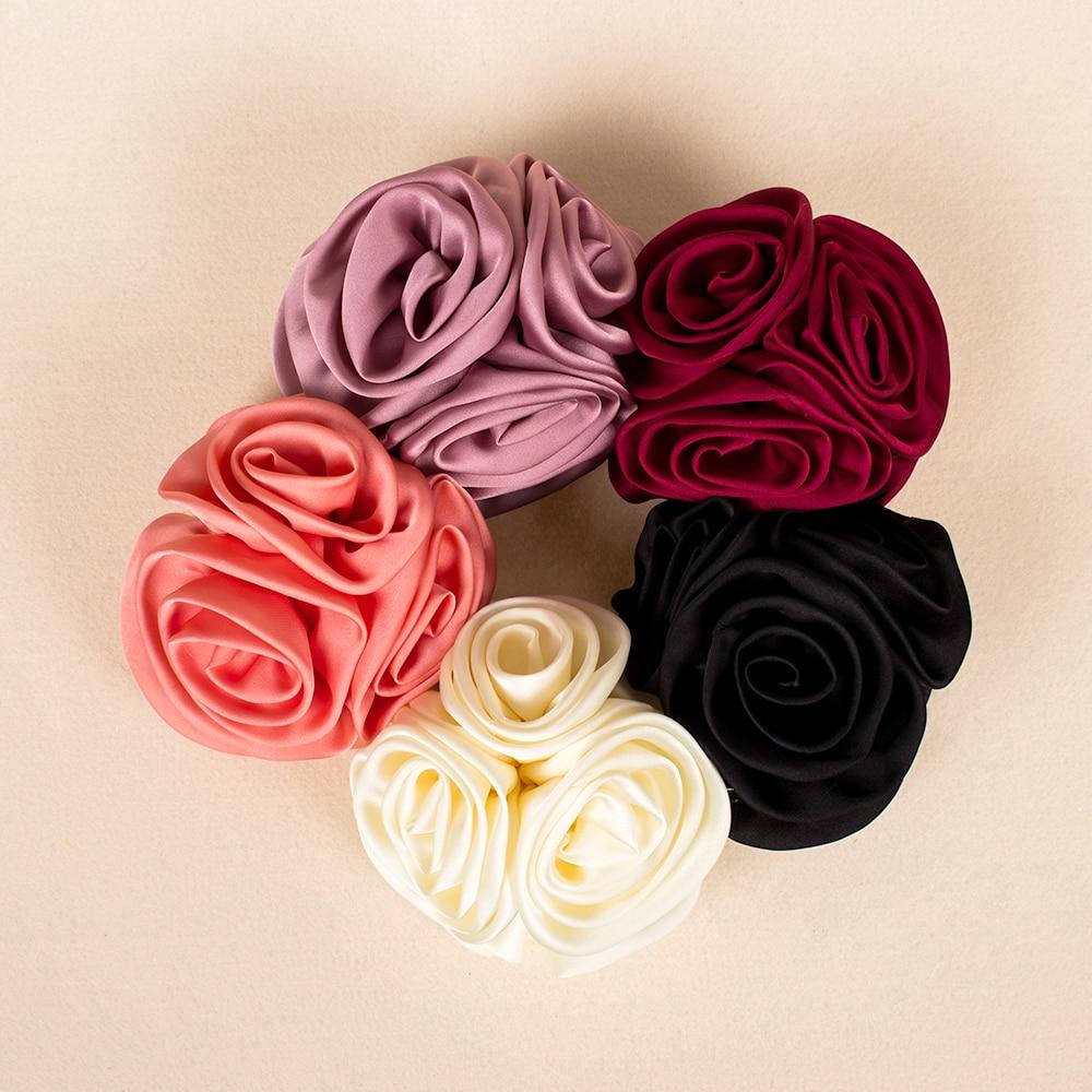 1Pc Korean Flower Headband Ribbon Rose Claw Hair Clip Barrette Hairpin Barrette Girls   Headwear   Hair Ornaments Hairgrip Tools