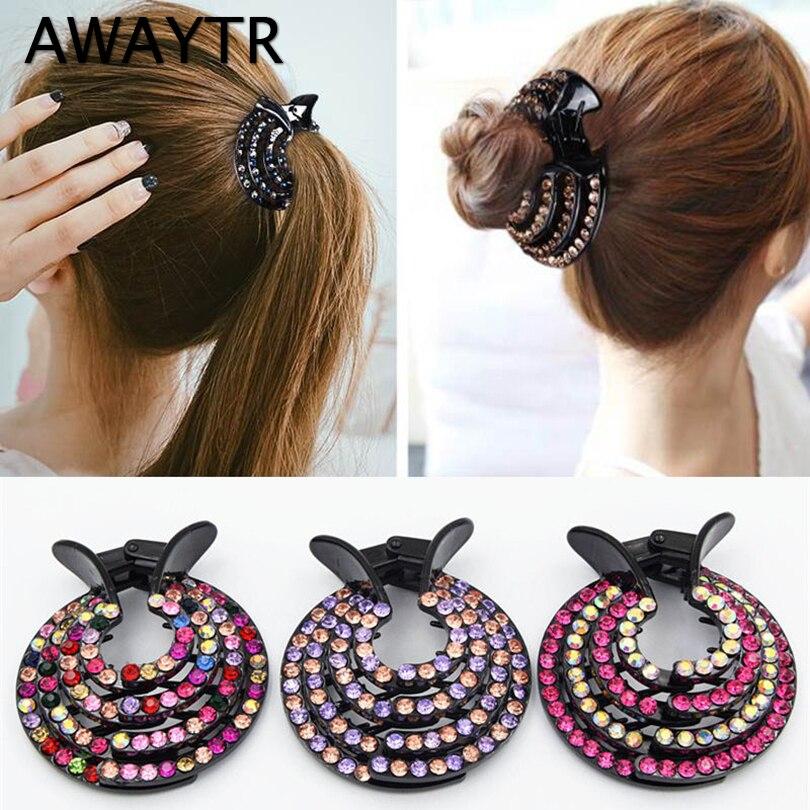AWAYTR New Half-balloon Hair Clip Women Nest Expanding Rhinestone Hairpin Girls Fashion Hair Claws Hair Bun Holders Accessories