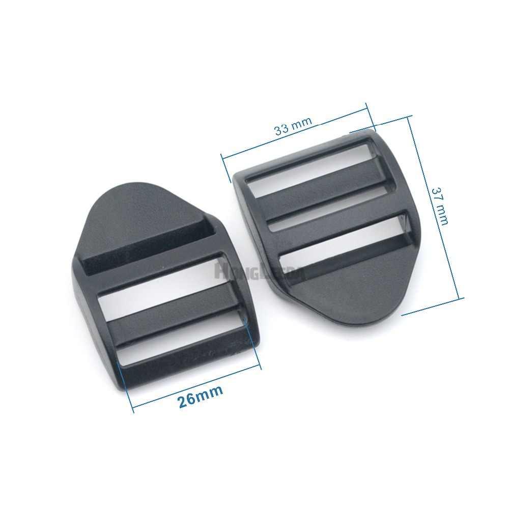 DIY 50 unids/lote 1 pulgada 26mm hebillas ajustables de plástico negro hebillas deslizantes Tri mochila de anillos correas HLD/M278-26