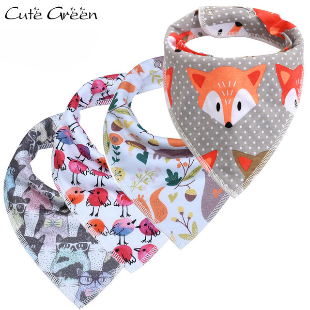 New Baby Bandana Bib Cute Print Reusable Large Absorbency Adjustable Triangle Meal Feeding Infant Burp Cloths Cotton Baby Bibs