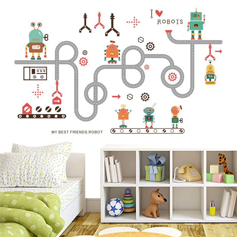 Cartoon Car Robot wall stickers for kids room boy children bedroom ...