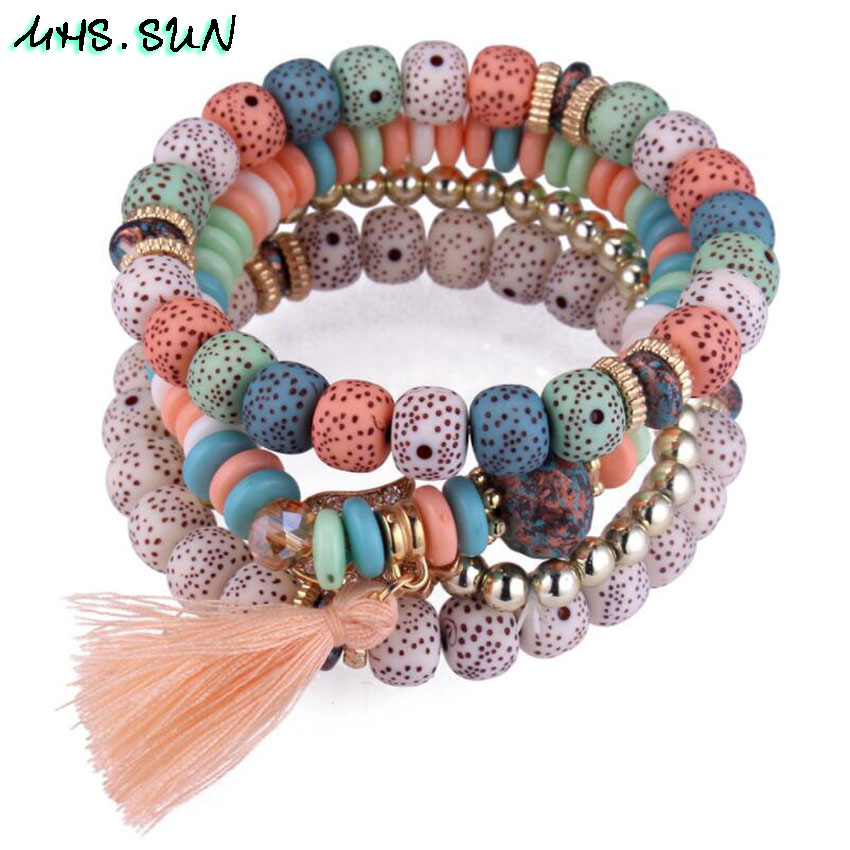 46-1 Fashion Bohemia Women Beaded Bracelets Bangles With Tassel Vintage Layered Bangles Ethnic All-Match Jewelry Accessories