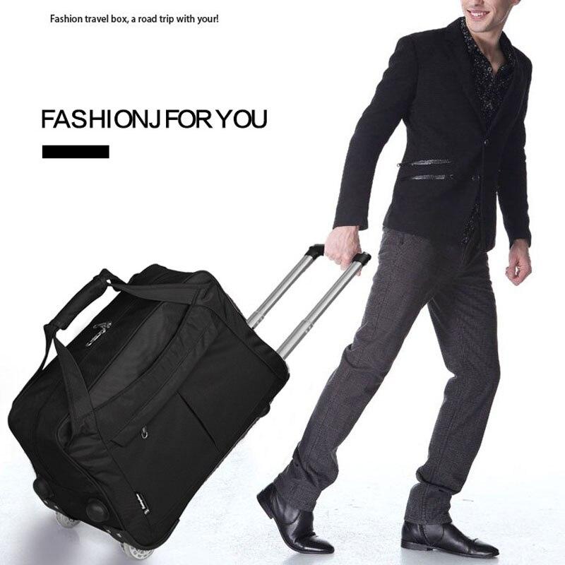 Wózek przenośny podróży bagażu mężczyźni droga pull rod moda kobiety torby podróżne na bagaż z koła torby z dnia na dzień kobiet batoh w Torby podróżne od Bagaże i torby na  Grupa 1
