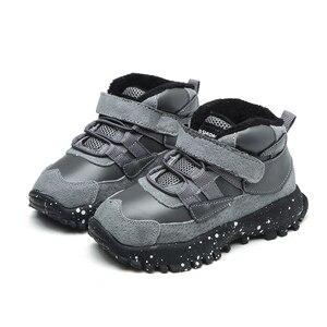 Image 2 - 작은 소년 발목 부츠 패션 블랙 그레이 육군 녹색 유연한 단독 따뜻한 정품 가죽 부츠 chaussure bebe zapatos kids boots