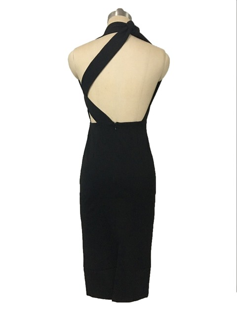 A180 one shoulder sexy knee length summer season solid color black little dress
