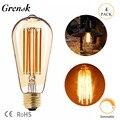 Grensk ST64 6W светодиодные лампы с регулируемой яркостью  винтажные золотые светодиодные лампы Эдисона 2200k E26 E27  Сменные лампы накаливания 60W