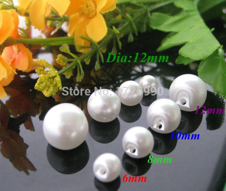 240pcs/lot mix Size 4 plastic pearl buttons White color side holes sewing button for clothes buckle Scrapbooking Accessories