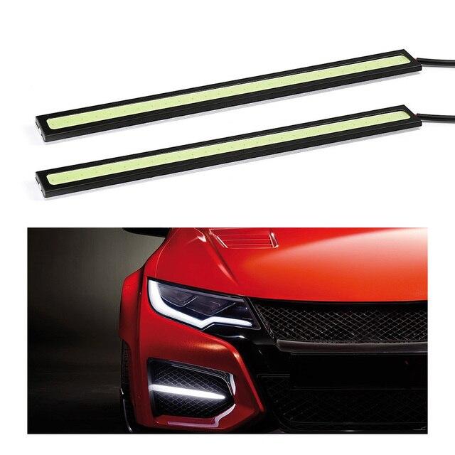 1 pièces 17cm étanche diurne lumière COB DRL LED lampe de voiture lumières externes Auto universel voiture style LED DRL lampe 3