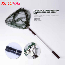 Portable Triangular Brail Folding Fishing Net Landing Net 3 Section Extendable Aluminium Pole Handle 65 173cm