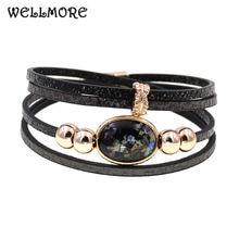 Женский кожаный браслет wellmore Модный богемный с бусинами