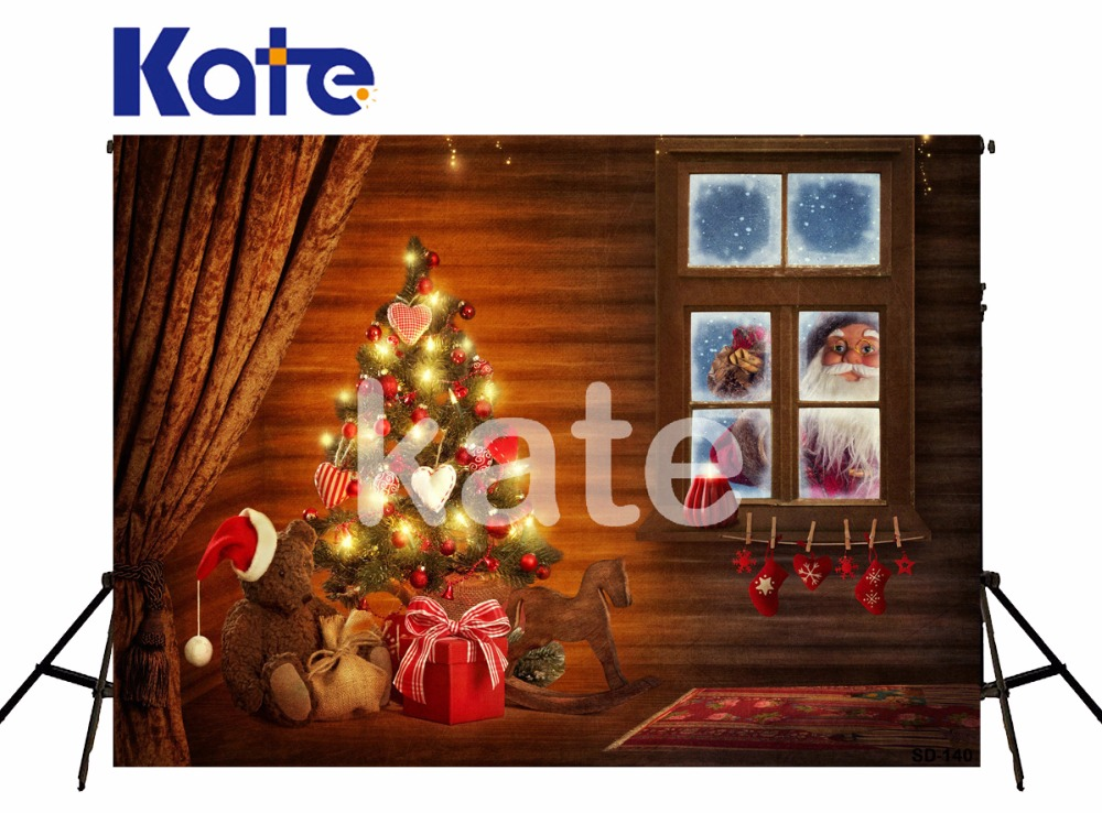 Kate Christmas Background Photography Indoor Warmth Christmas Tree Toys Photo Backdrops Photographic Background for Photo Studio