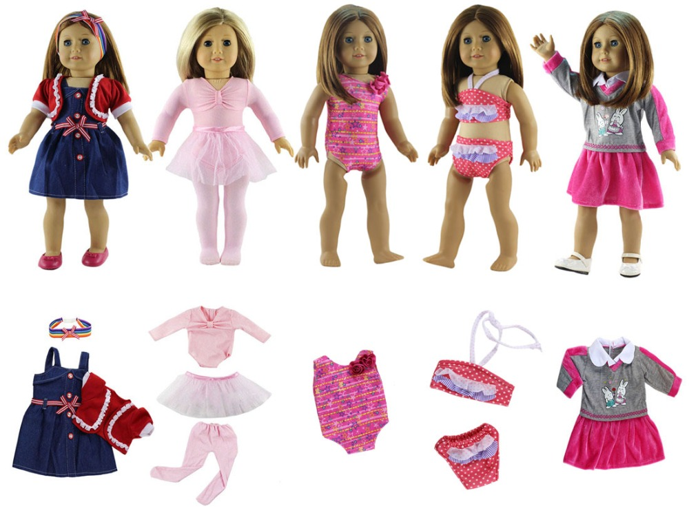 New Style 5 Set Doll Clothes Swinming Suit Ballet Dress
