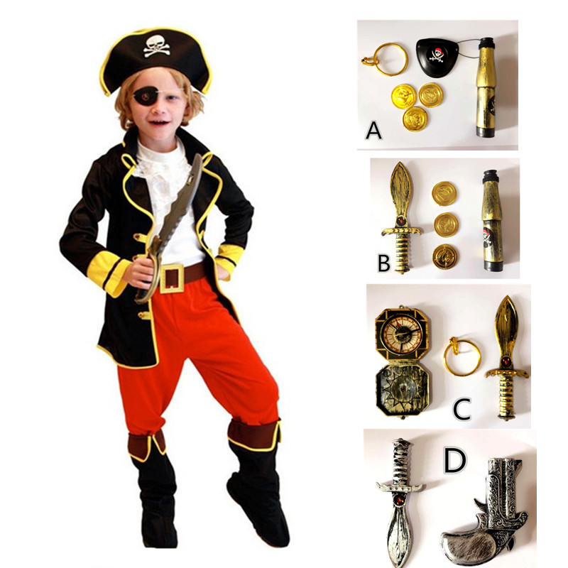 Kids Boys Pirate Cosplay Costumes Set For Children's Day Birthday Day Halloween Party Costumes For Kids Children(no Weapons)