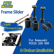 For Kawasaki Ninja 650 EX650 650R 250 EX250 250R No Cut Frame Slider Crash Pads Falling Protector 2008-2012 2008 2012 kawasaki ex250 ninja 250r chain and sprocket kit heavy duty green