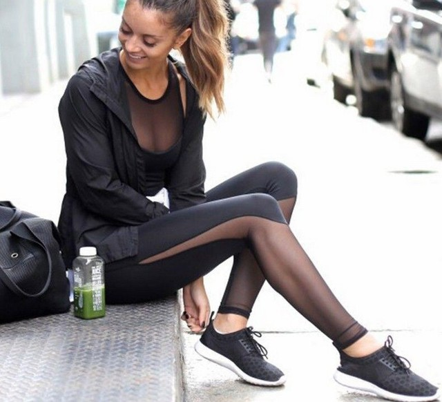 ICENY BRAND 2016 Fitness Leggings Women High Waist Patchwork Mesh Leggings Skinny Push Up Calzas Deportivas Mujer Fitness Legins