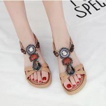 Женские сандалии на плоской подошве; Летние удобные женские сандалии в богемном стиле; большие размеры; пляжная обувь