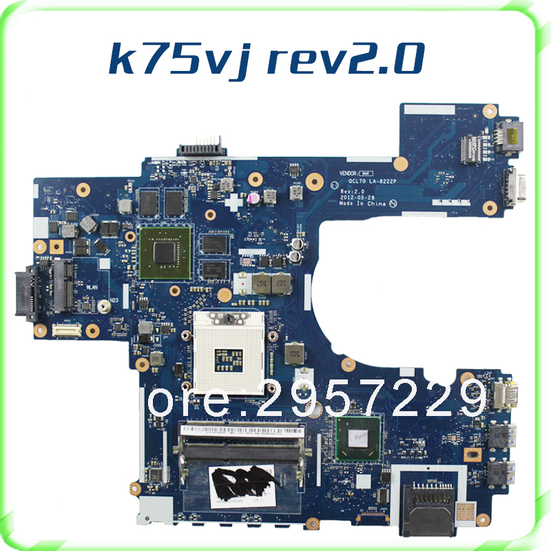 Free shipping motherboard For ASUS K75VJ mainboard REV 2.0  GT635M Non-integrated QCL70 LA-8222P working perfect