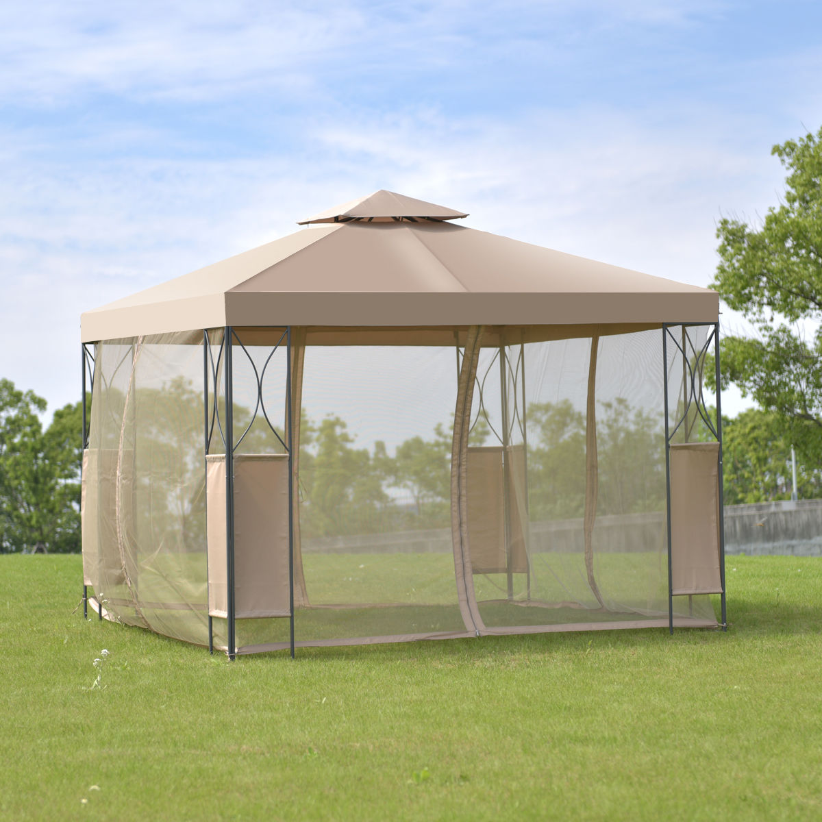 Goplus 2 -Tier 10 'X10 'Gazebo Canopy Tent Shelter Awning Steel Frame Patio Garden Party Wedding Tent Brown Cover OP3116CF моторное масло motul garden 4t 10w 30 2 л