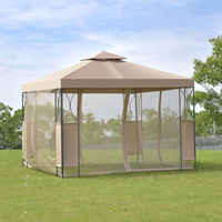 Goplus 2 Tier 10 'X10 'Gazebo Canopy Tent Shelter Awning Steel Frame Patio Garden Party Wedding Tent Brown Cover OP3116CF