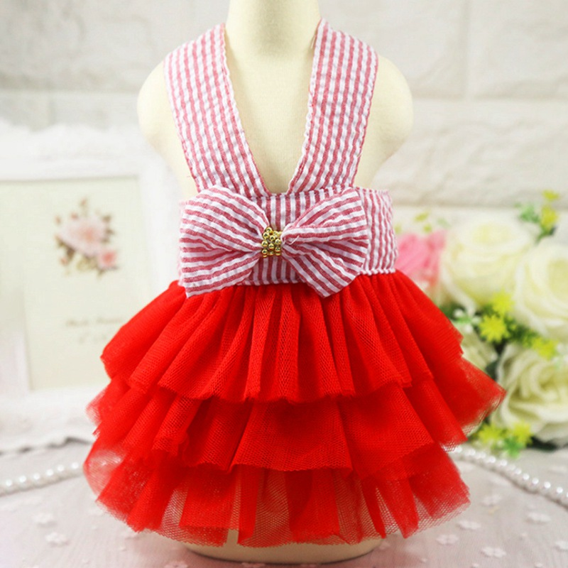 Spring Summer <font><b>dog</b></font> <font><b>dresses</b></font> with Lovely Bowknot Teddy Puppy <font><b>Wedding</b></font> <font><b>Dresses</b></font> <font><b>Dogs</b></font> Pet Accessories For Puppy image