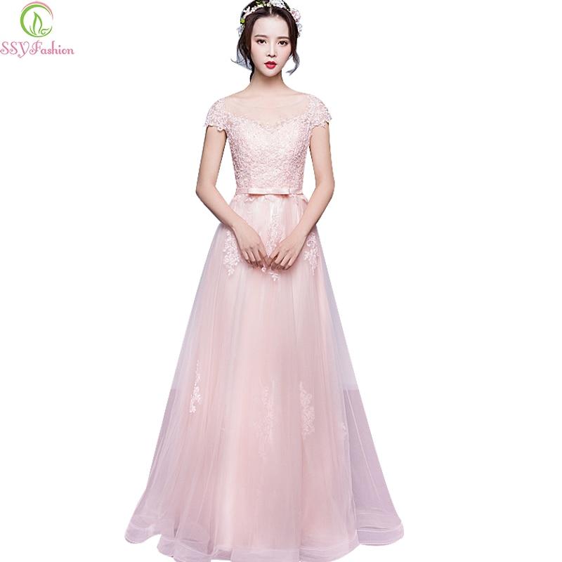 Elegant Lace Sleeve Short Wedding Dresses 2016 Scoop Neck: SSYFashion Elegant Grey Lace Long Evening Dress Sweet