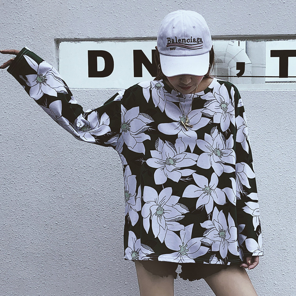 ulzzang harajuku moda feminina T shirts Korea spring autumn women fashion brand tshirt female tops slim basic loose tees floral