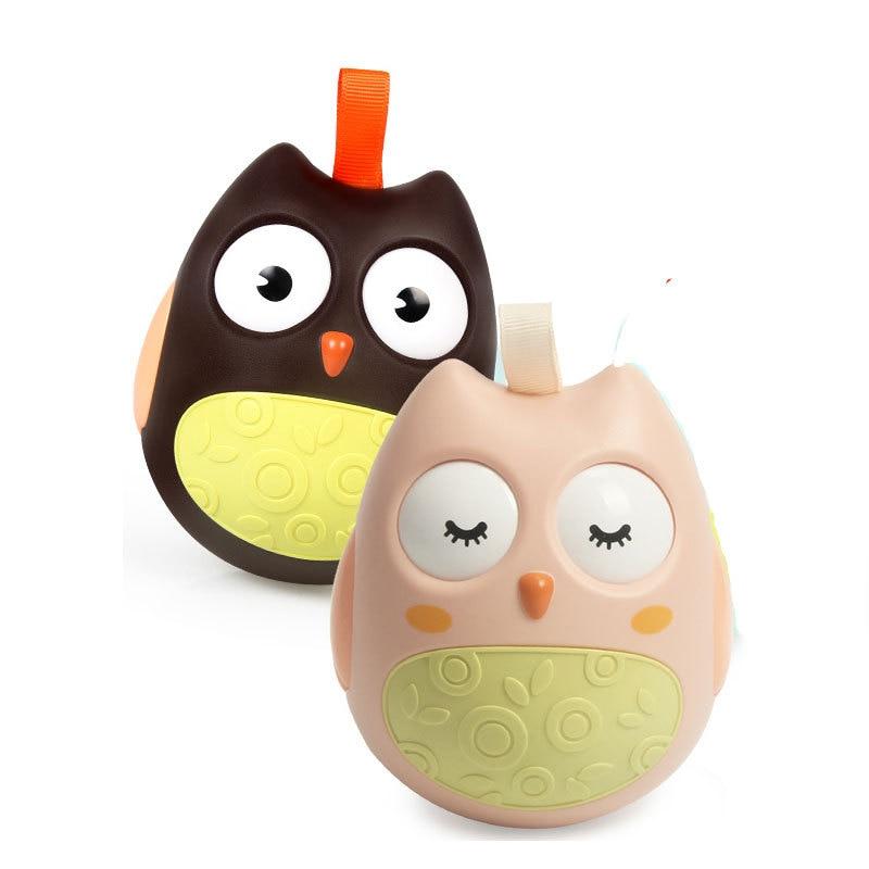 12cm Lovely Cute Pink Owl Tumbler Nodding Shaking Turning Eyes Crisp Bells Baby Crawling Toy Hand Catching Ball Minerva Bird Toy