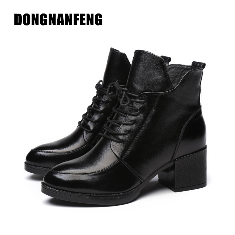 DONGNANFENG Women Shoes Boots Vintage Genuine Leather Snow Winter Plush Fur Warm Lace Up Ankle Mother Superstar Size 35-40 OL-1