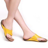 2015 Men Summer Slippers Casual Open Flip Flops Beach Sandals Genuine Leather