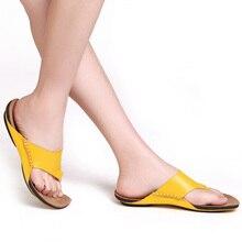 Shoes Woman Flip Flops 100% Authentic Leather Open Toe Sandals Beach Slides Woman Summer Shoes Ladies Footwear(3166-3)