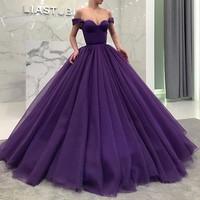 Elegant Purple Ball Prom Gowns Off The Shoulder Long Womens Formal Dress Custom Made Floor Length Vestido Evening Women Gowns