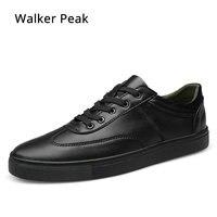 Nuevo 2018 nuevos zapatos casuales de cuero para hombre de primavera y otoño zapatos de moda para hombre con cordones negro blanco zapatillas de deporte tamaño pico andador 35-49