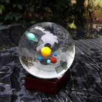Envío Libre Bola de Cristal Esfera De Cristal Pisapapeles Planeta del Sistema Solar Para El Hogar Decoración Feng Shui Artesanías