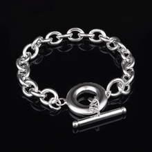 купить Simple Link Chain Bracelet Bangles For Women Classic Silver Plated Cuff Jewelry Gift Dropshipping по цене 142.64 рублей