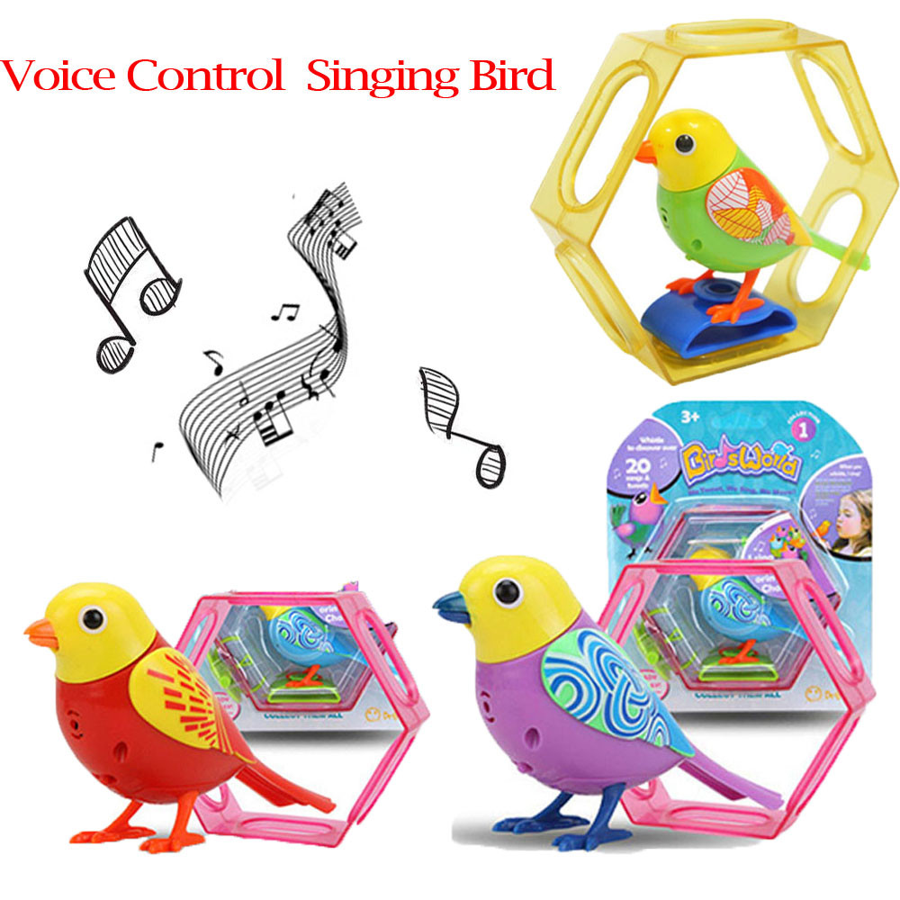 1PC Singing Sound Bird Pets Sound Voice Control Activate Chirping Singing Bird For Baby Kdis Funny Toys Child Christmas Gift Toy