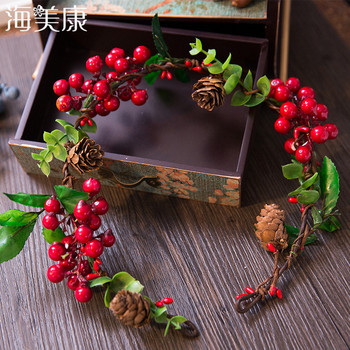 Haimeikang New Hot Bridal Forest Flower Headband For Women Color Fruit Wreath Wedding Hair Accessories Tiara And Crown Hairband party glowing wreath halloween crown flower headband women girls led light up hair wreath hairband garlands gift