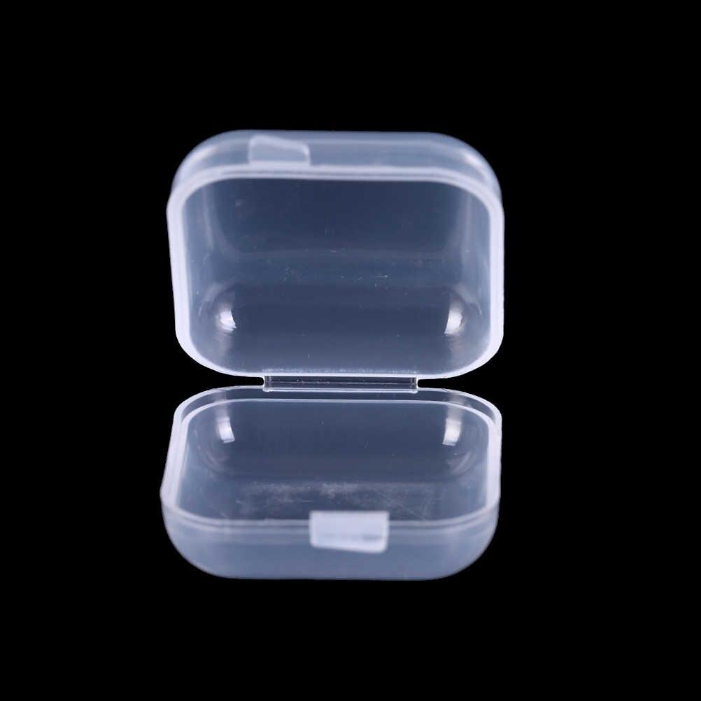 10/20/50 pçs mini plástico claro pequena caixa de jóias earplugues caixa de armazenamento caso recipiente grânulo maquiagem organizador claro presente