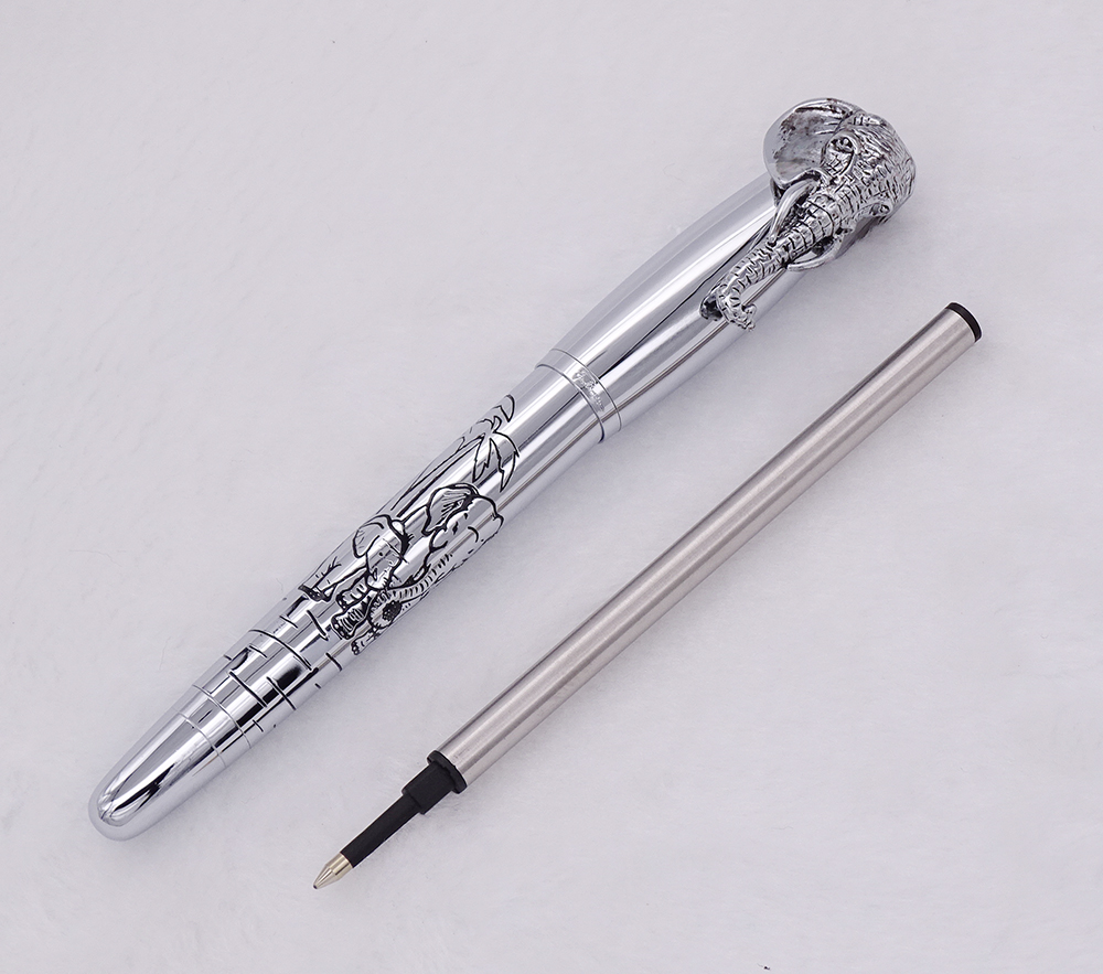 Fuliwen Rollerball Pen Elephant Head on Cap Delicate Silver Signature Pen Smooth Refill Business Office Home School Supplies in Ballpoint Pens from Office School Supplies