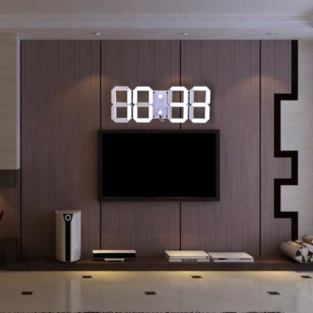 hot selling large led digital wall clock modern design remote control home decor 3d decoration big