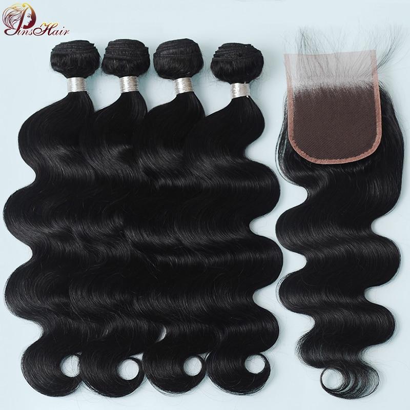 Pinshair 4 Bundles With Closure With Baby Hair Body Wave Peruvian Hair Bundles With Closure Pre-Plucked 100% Human Hair Non Remy