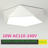 Estilo geométrico origami lâmpadas de teto design criativo economia energia led teto luzes da sala estar  luzes do quarto AC110-240V
