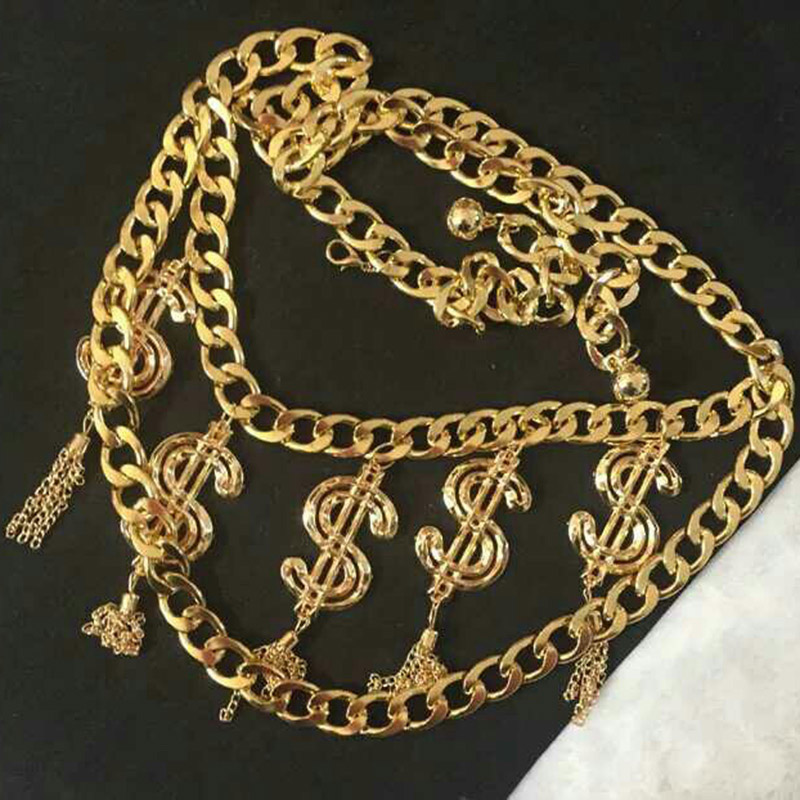 Trendy Belly Chain Belt Sexy Gold Color body chain women Letter Dollar Symbol waist body jewelry vintage Beach boho jewelry